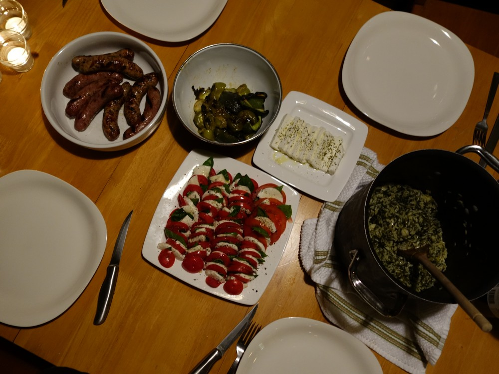 Spinach-rice, sausages, roasted veggies and tomatoes from Karen's garden